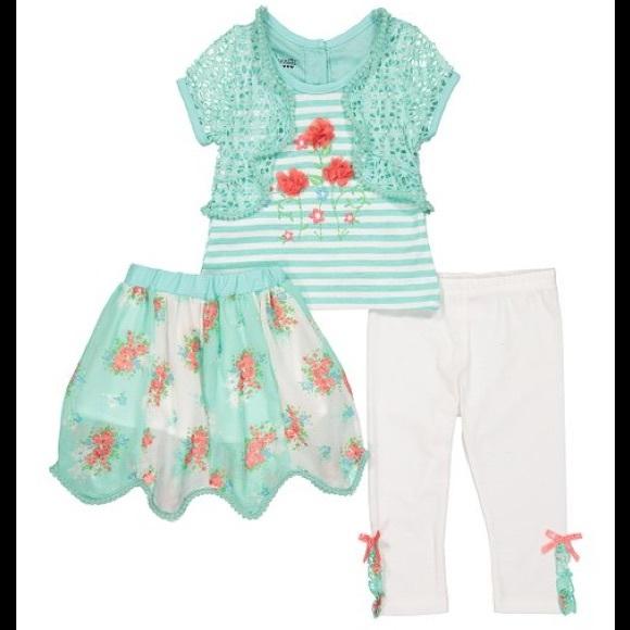 Nannette Butterfly Layered Tee Skirt Legging Set